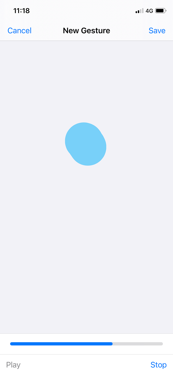 Tap on the screen and hold it until the blue bar is filled entirely