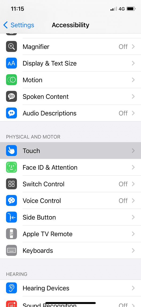 Under Accessibility tap on Touch option