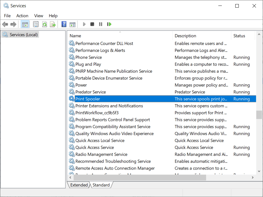 Why does aprint job gets stuck in Windows 10