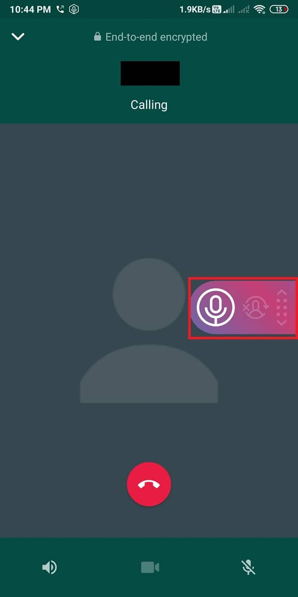You will see a pink microphone icon over your WhatsApp call