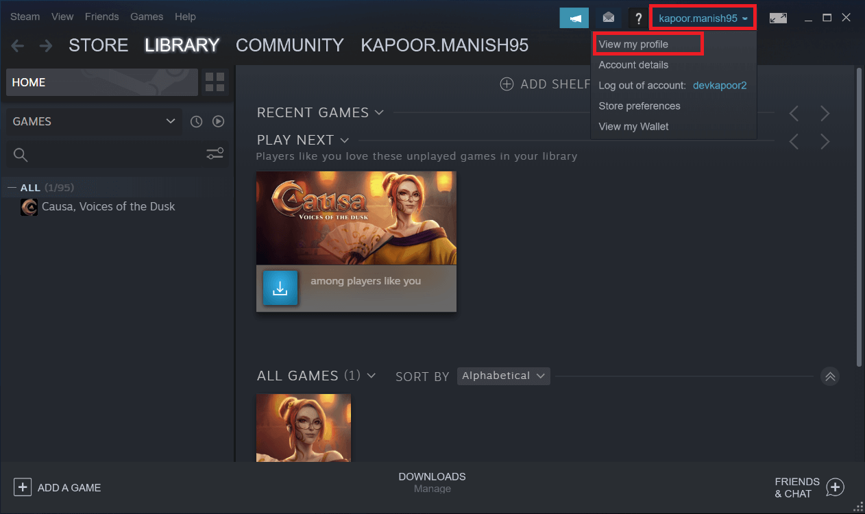 click on your Username. then from the dropdown menu that appears, click on the View my Profile button.