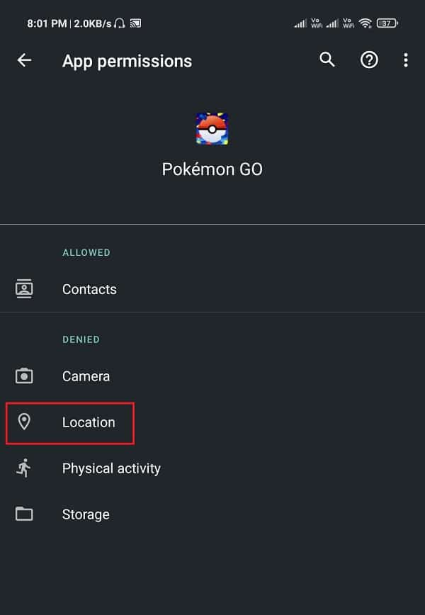 make sure that the toggle switch next to Location is Enabled. | Fix Pokémon Go GPS Signal Not Found