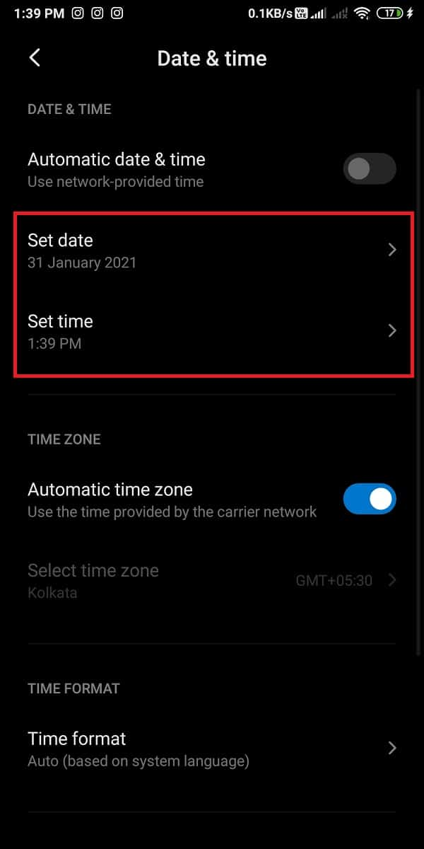 manually set the date and time by turning off the toggle.