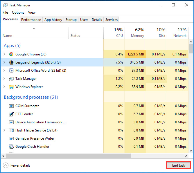 scroll down to locate the League of Legends 32 bit processes, right-click on them and select End Task