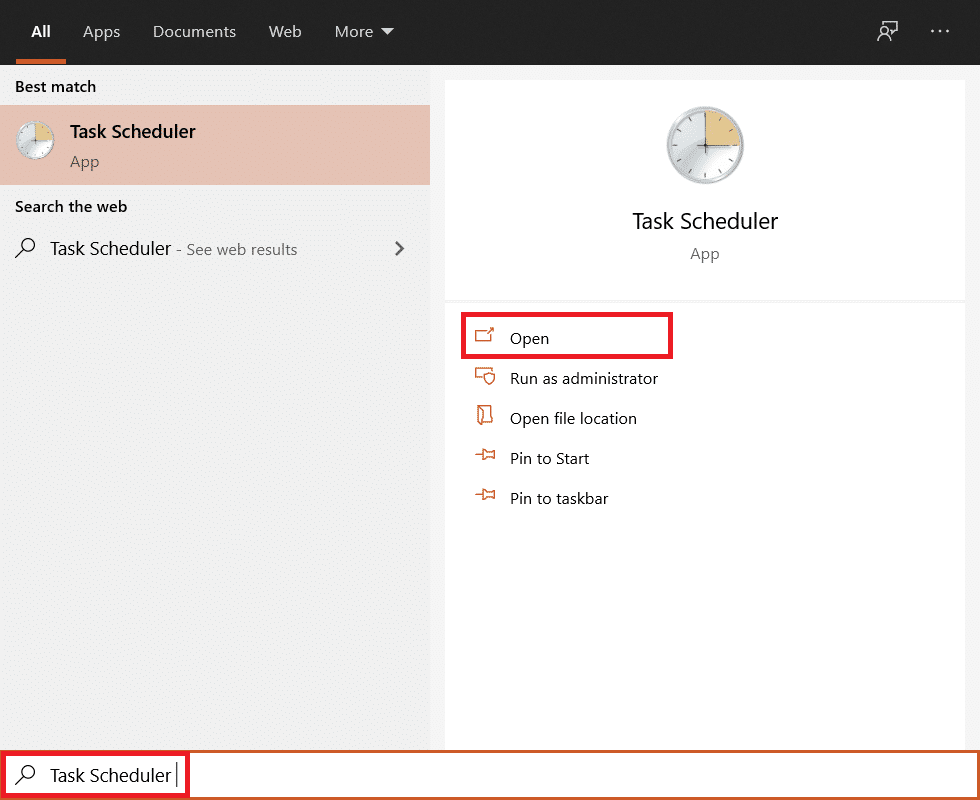 search for Task Scheduler in the Start Menu and hit enter to open.