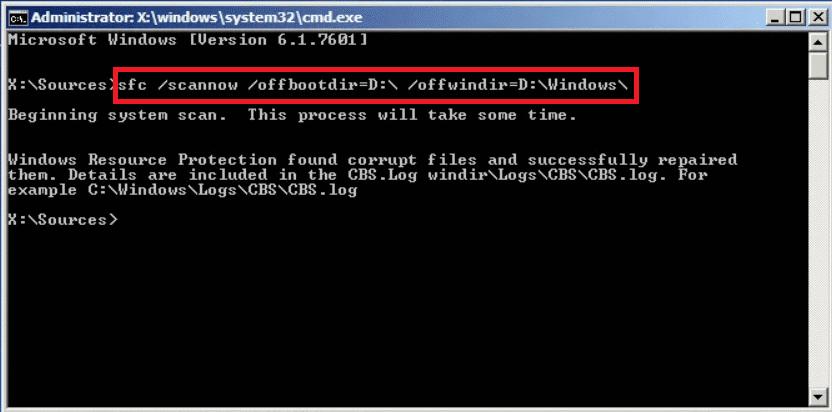 sfc /scannow /offbootdir=C:\ /offwindir=C:\Windows\ | Fix: The Boot Configuration Data File Doesn't Contain Valid Information