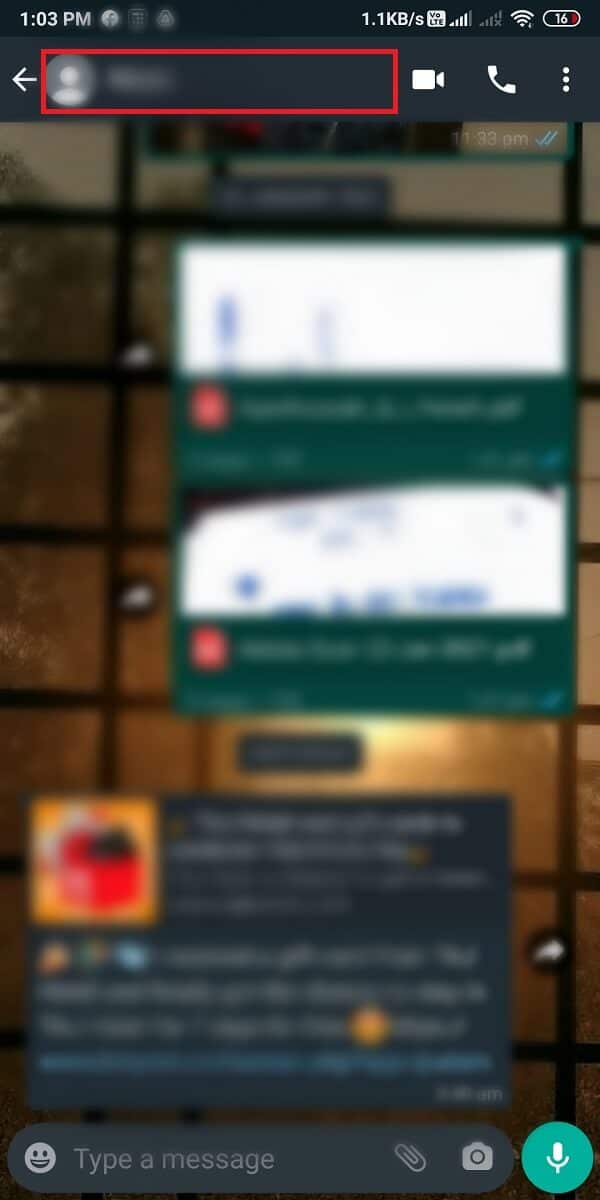 tap at the Contact name at the top of the chatbox. | Fix Whatsapp Images Not Showing In Gallery