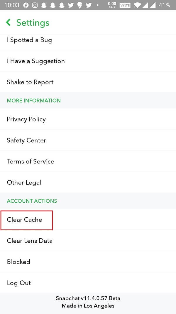 tap on the Clear Cache option.
