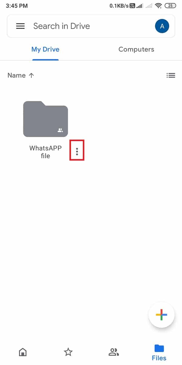 tap on the three vertical dots next to the folder   How To Send Large Video Files On Whatsapp