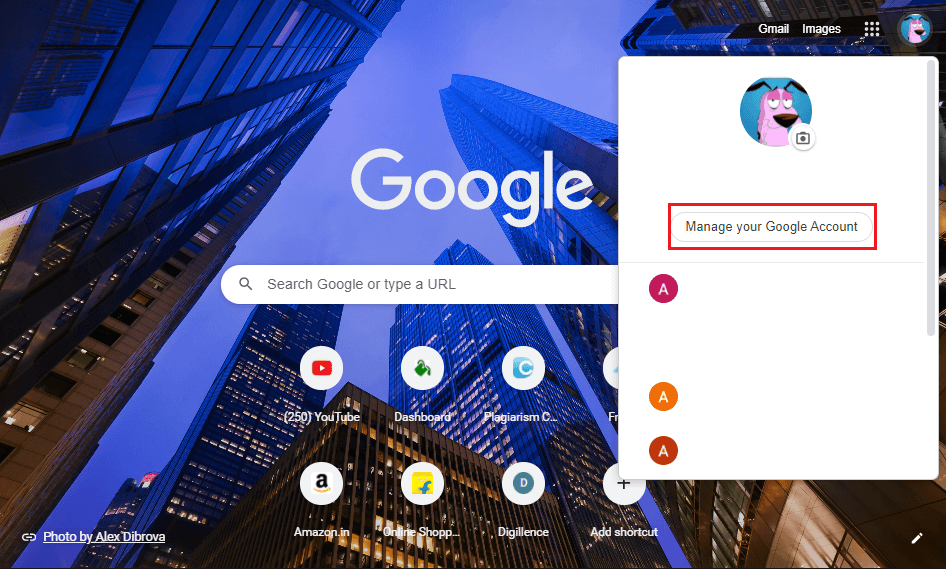 Click on Manage your Google account. | How to Remove an Account from Google Photos