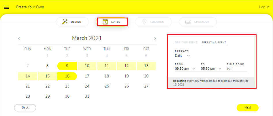 Click on Next to select the dates for your geofence filter.