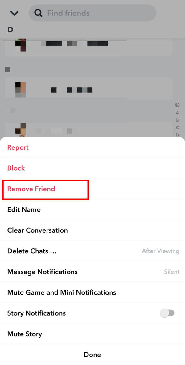 Finally, tap on Remove Friend