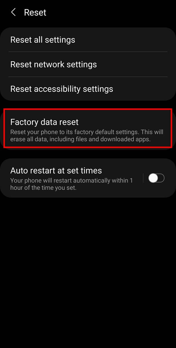 Finally, tap on the Factory Data Reset option to reset your device.