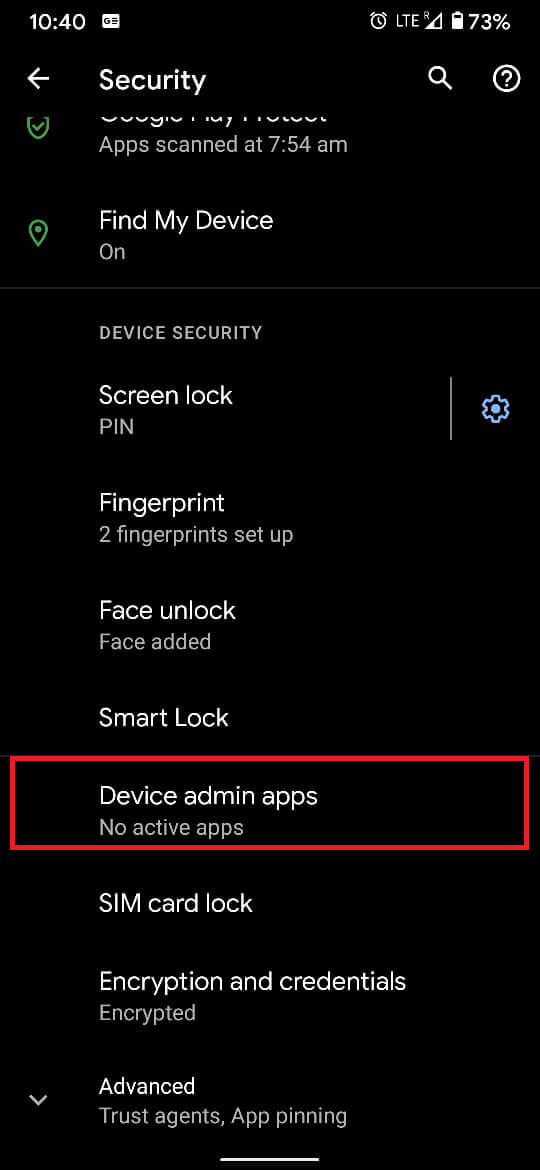 From the 'Security' panel, tap on 'Device admin apps.'