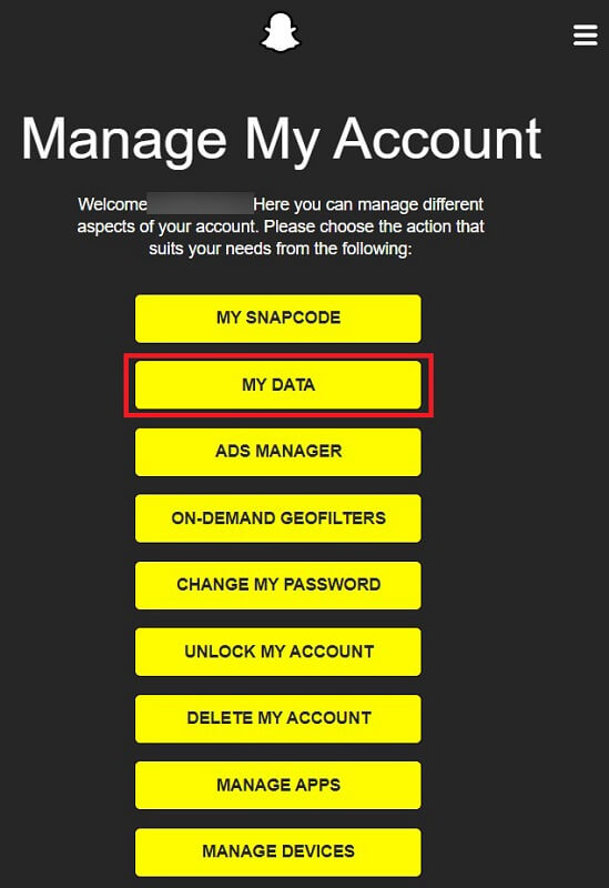 From the various options available to manage your account, tap on 'My Data.'