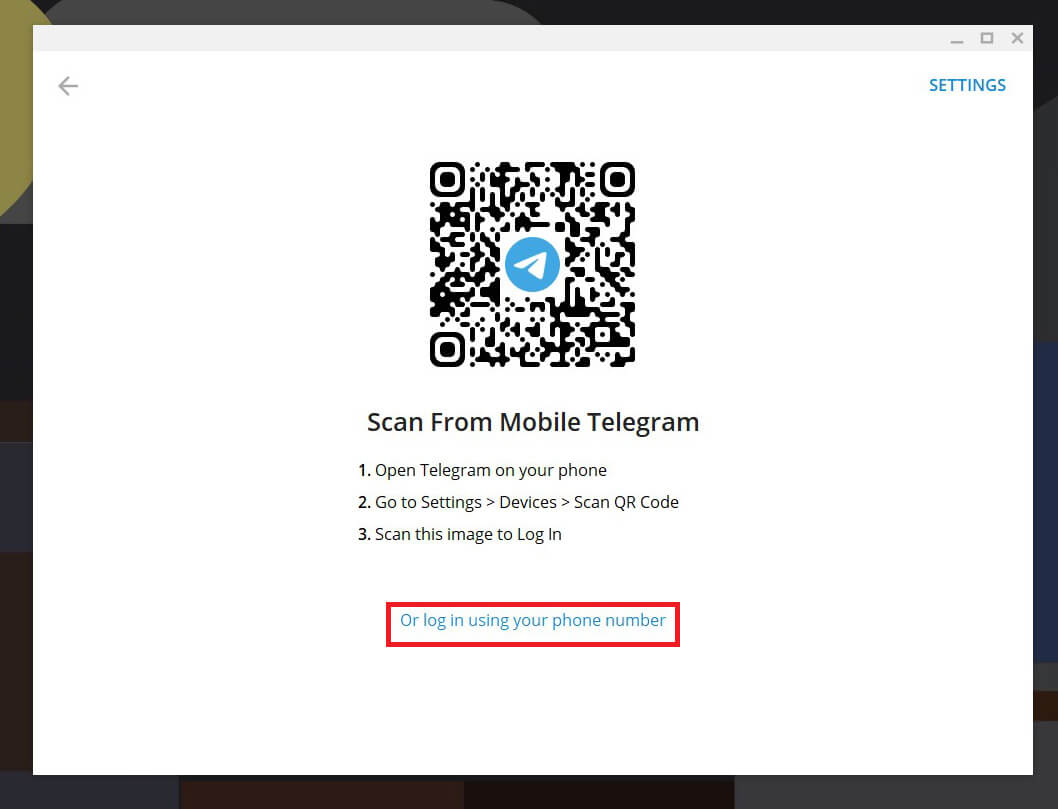 Log-in on the platform using your phone number or by scanning the QR code.