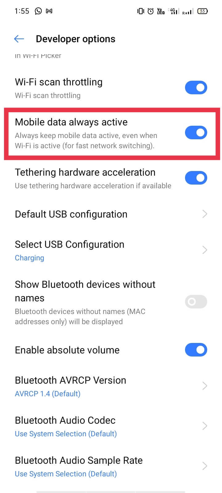 Now, under the Developer option, turn on the Mobile data always active option.