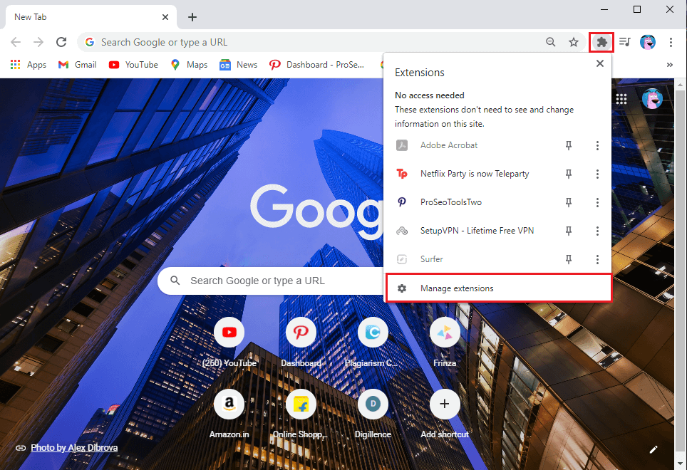 Open your Chrome browser and click on the Extension icon from the top-right corner of the screen then click on Manage extensions.