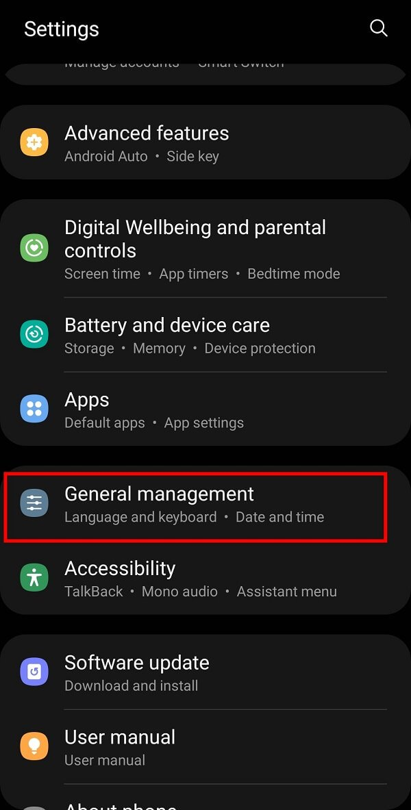 """Open your Mobile """"Settings"""" and select General Management from the available options."""