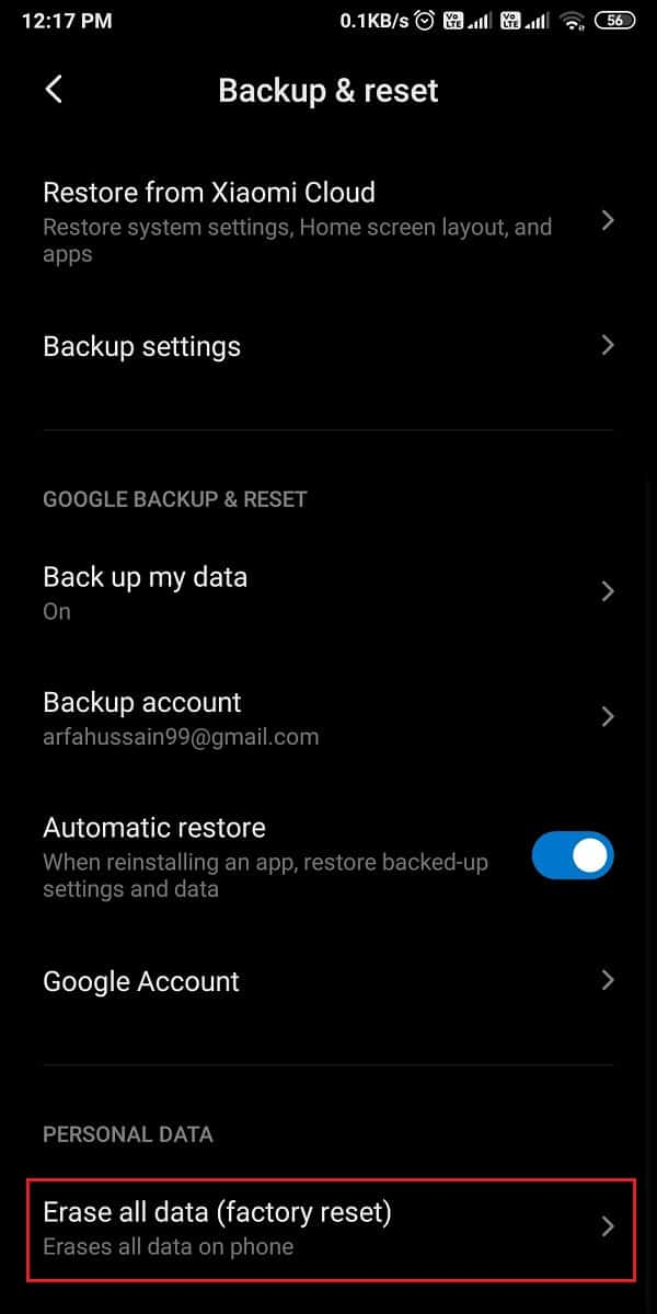 Scroll down and tap on erase all data (factory reset).