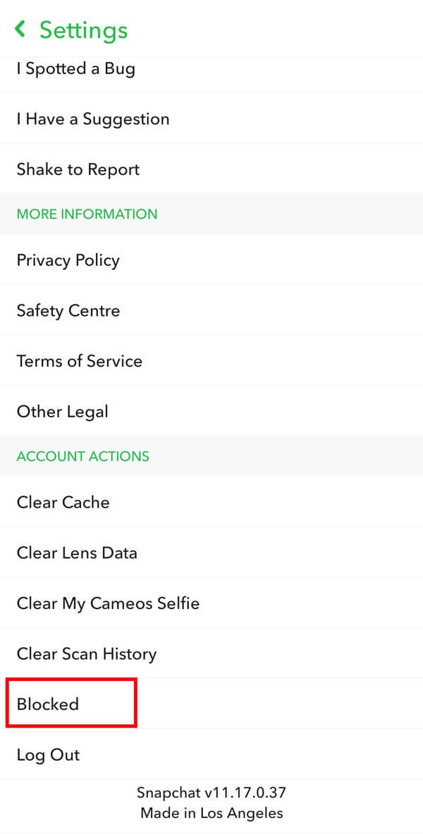 Scroll down to Account Actions and tap on the Blocked option. | How to Unadd People on Snapchat?