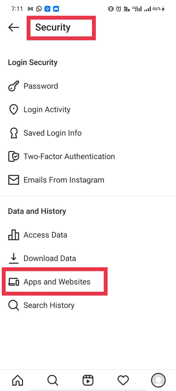 """Select """"Apps and websites"""". 