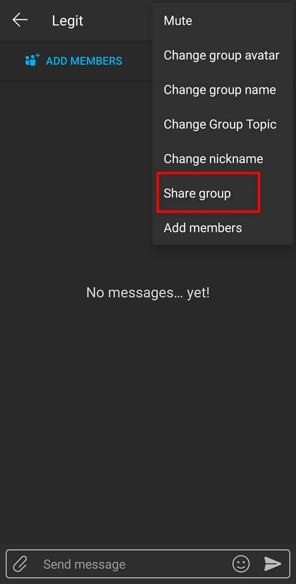 Select the Share Group option from the available list. | Fix 'Failed to Add Members Issue' on GroupMe