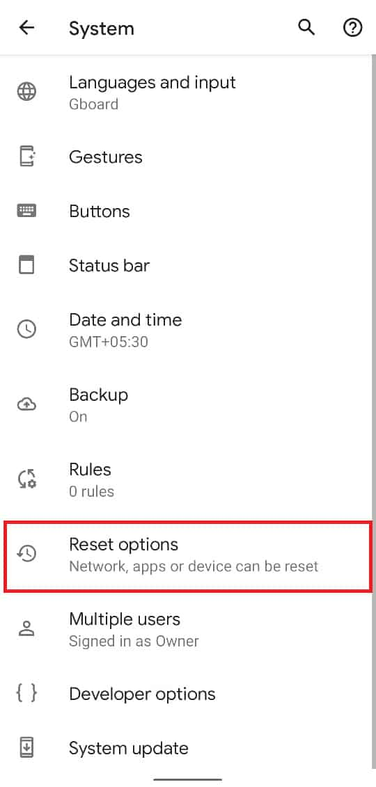 Tap on 'Reset options' to continue. | How to Bypass Google Account Verification on Android Phone