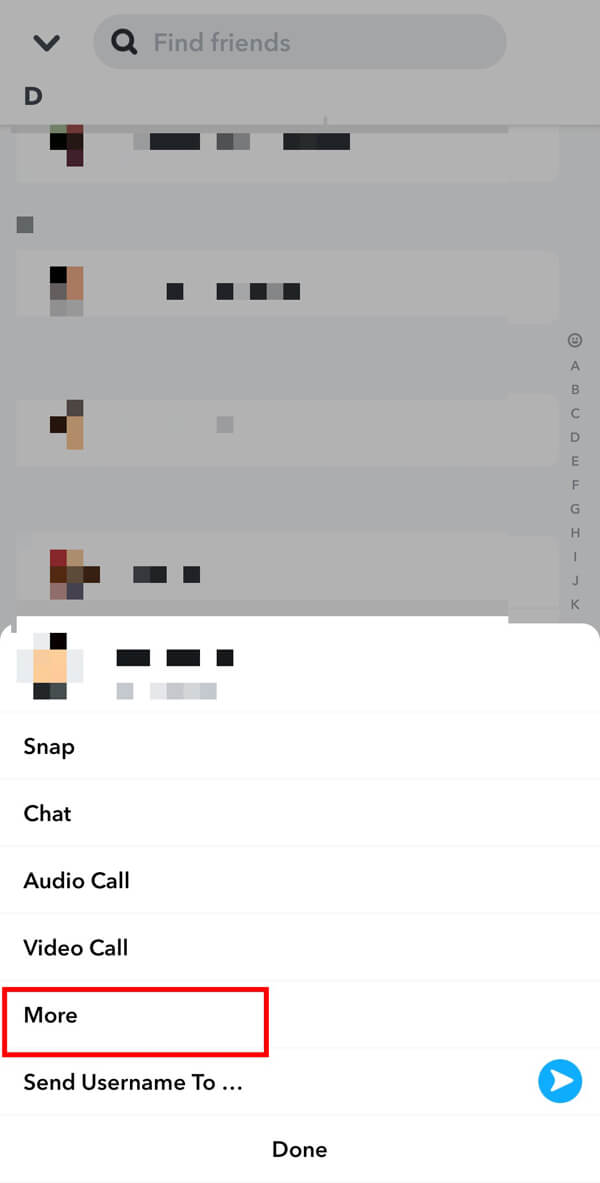 Tap on More from the available options. | How to Unadd People on Snapchat