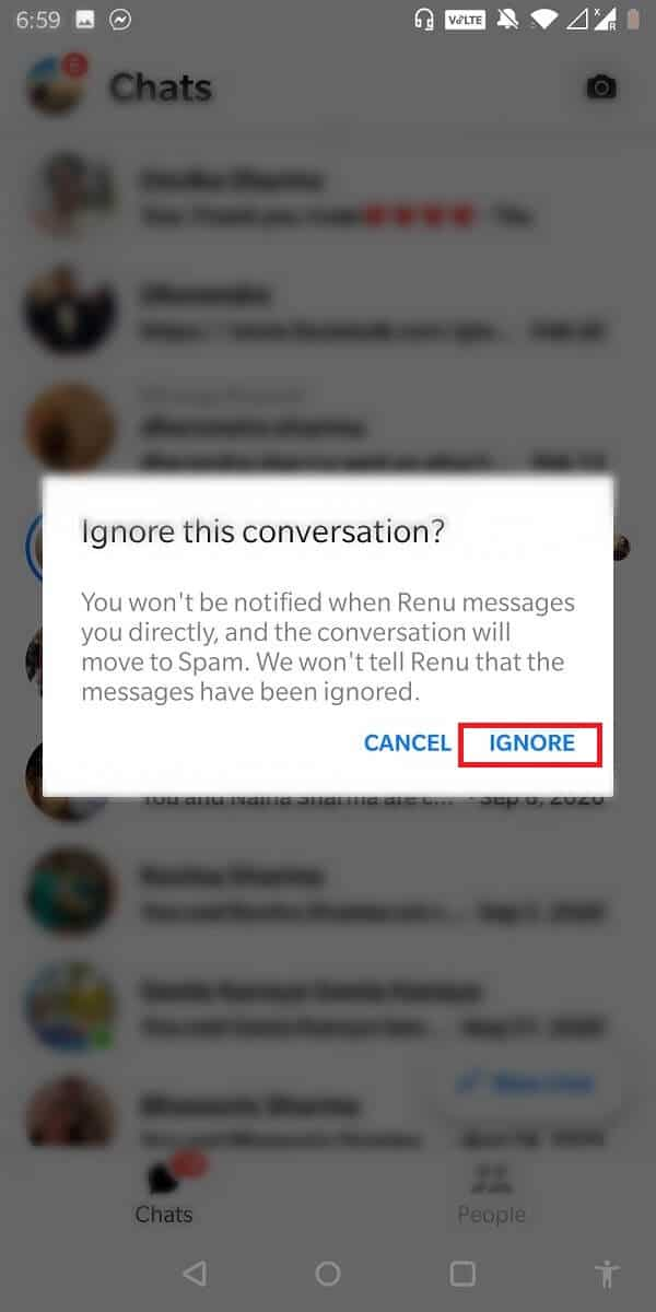 You will now have to tap on the ignore from the pop-up.