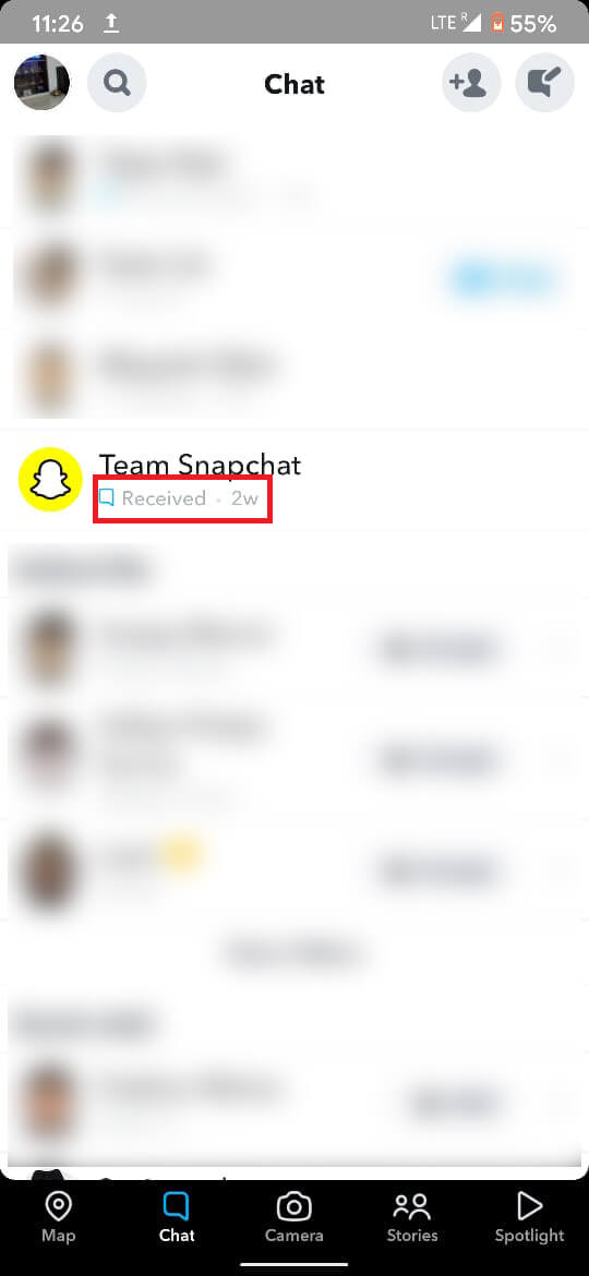 blue chat symbol below the user's name along with a text stating 'Received. | What Does Pending Mean On Snapchat