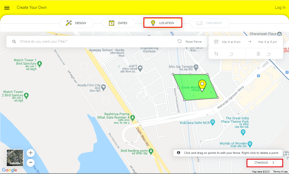 click on Checkout | How to Create a Geo fenced Story on Snapchat
