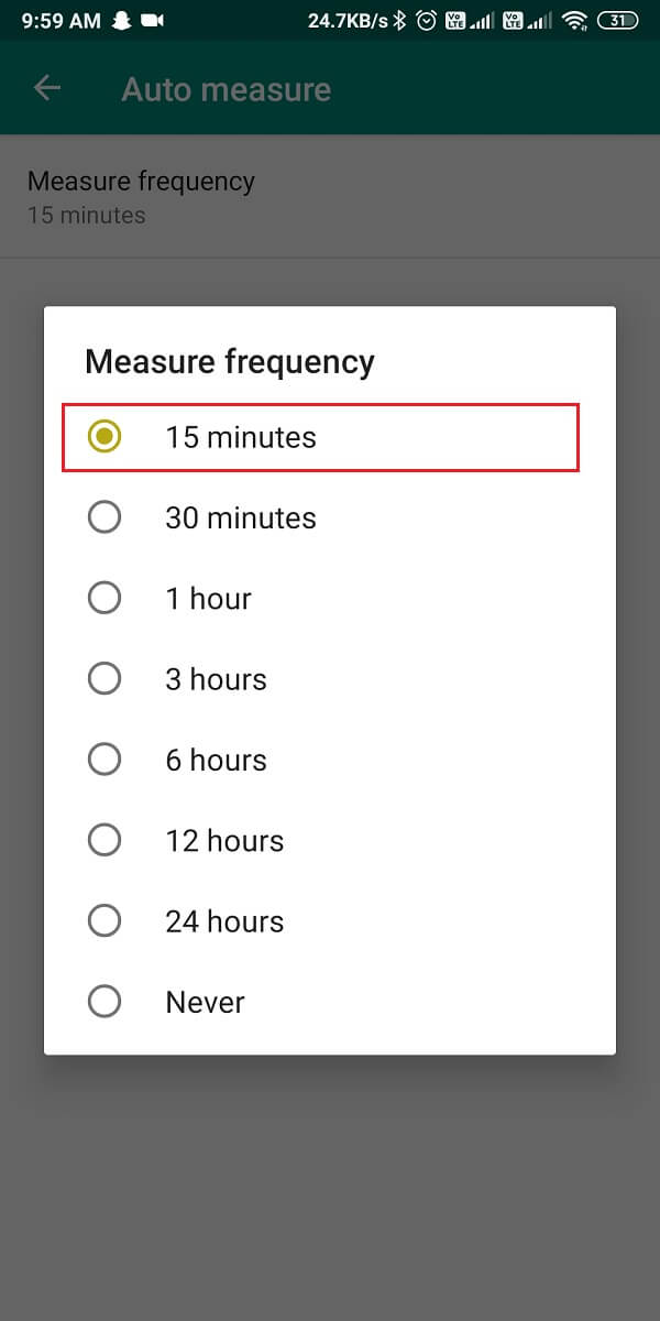 go back to the settings and tap on auto measure.
