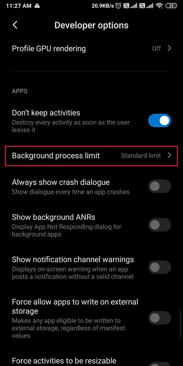Now, scroll down and tap on the background process limit. | How to Disable Auto-start Apps on Android