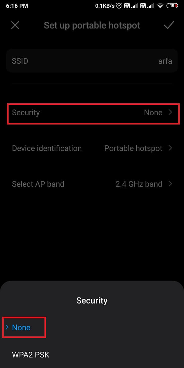 tap on Security and switch from WPA2 PSK to 'None.'