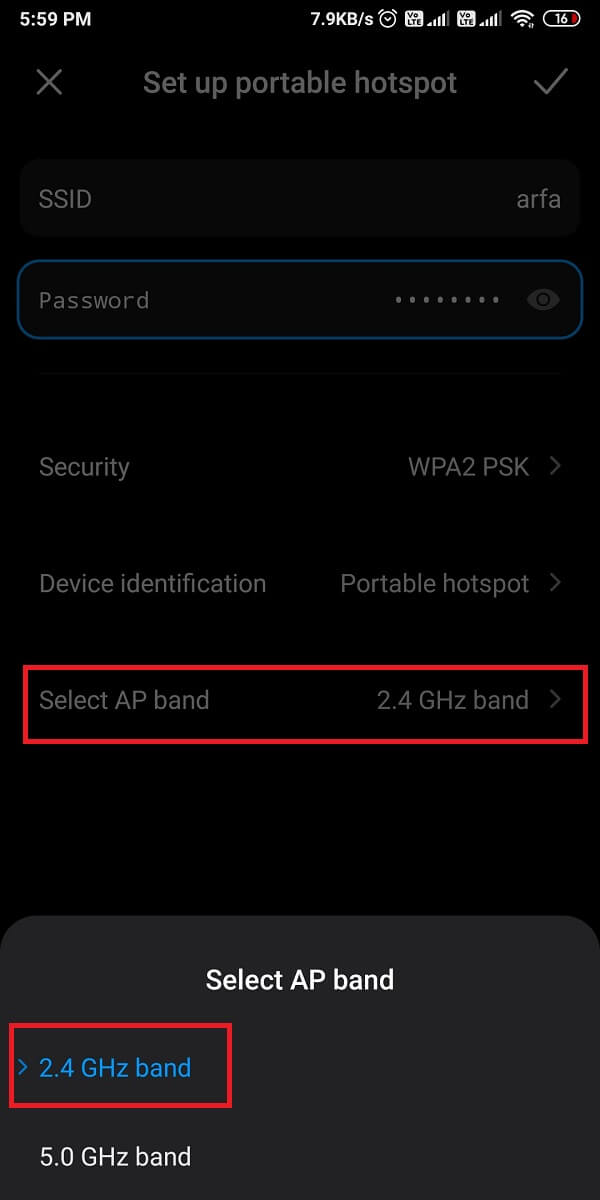 tap on 'Select AP band' and switch from 5.0 GHz to 2.4 GHz. | Fix Mobile Hotspot not working on Android