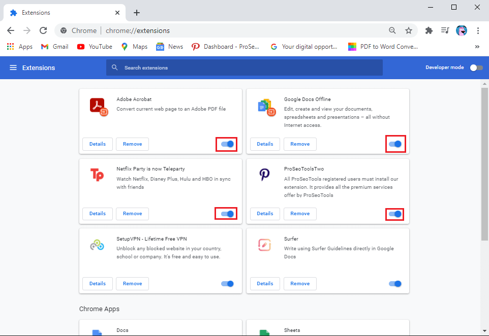 turn off the toggle next to each extension to disable it | Fix Chrome not Connecting to the Internet