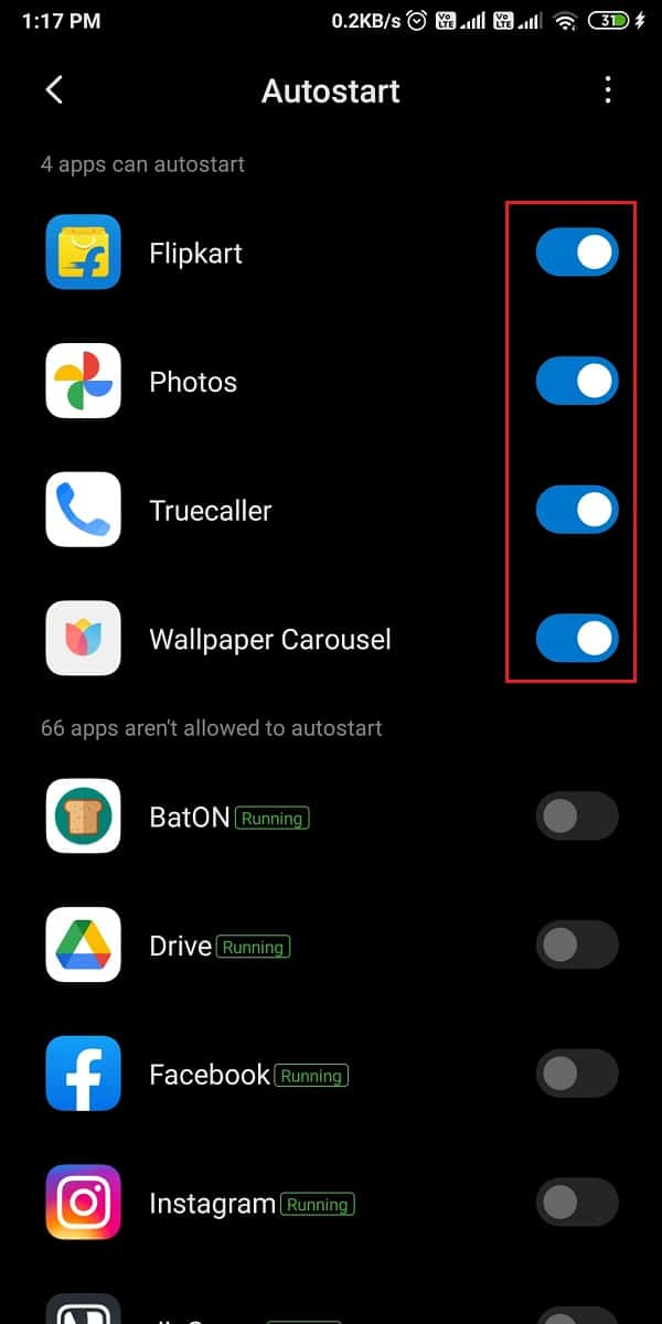 turn off the toggle next to your selected app to disable the auto-start feature.
