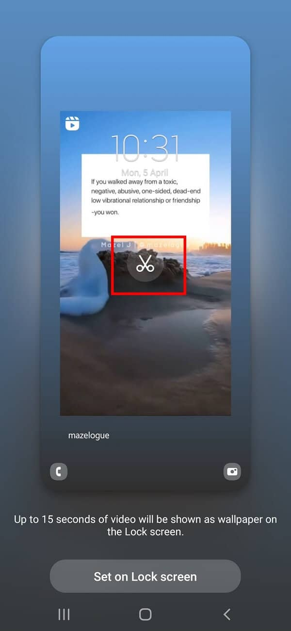 Adjust the video by tapping the Edit icon in the middle of your wallpaper.