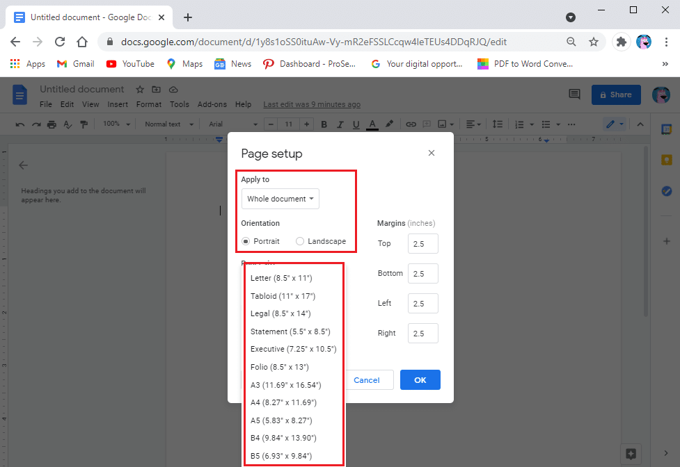 Applying the margins to selected pages or the whole document | Change Margins in Google Docs