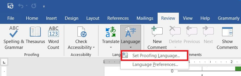 Click on 'Set proofing language' to proceed
