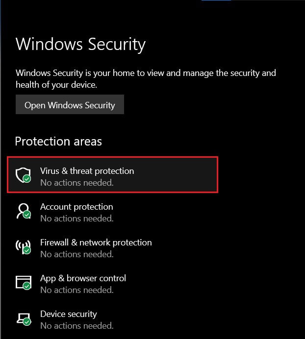 Click on 'Virus and Threat Actions' Fix Command Prompt Appears then Disappears on Windows 10