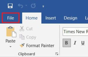Click on FIle on the top right corner in Word | How to Print When You Don't Have a Printer
