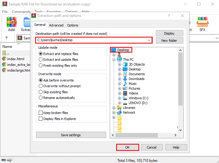 Click on OK, and WinRAR will automatically start