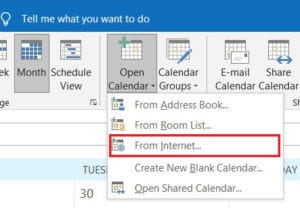 Click on Open calendar and select from the internet