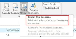 Click on Publish online and then publish this calendar