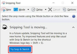 Click on Try Snip and Sketch | How to Convert Word to JPEG