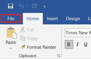 Click on file from Word taskbar | How to Convert Word to JPEG