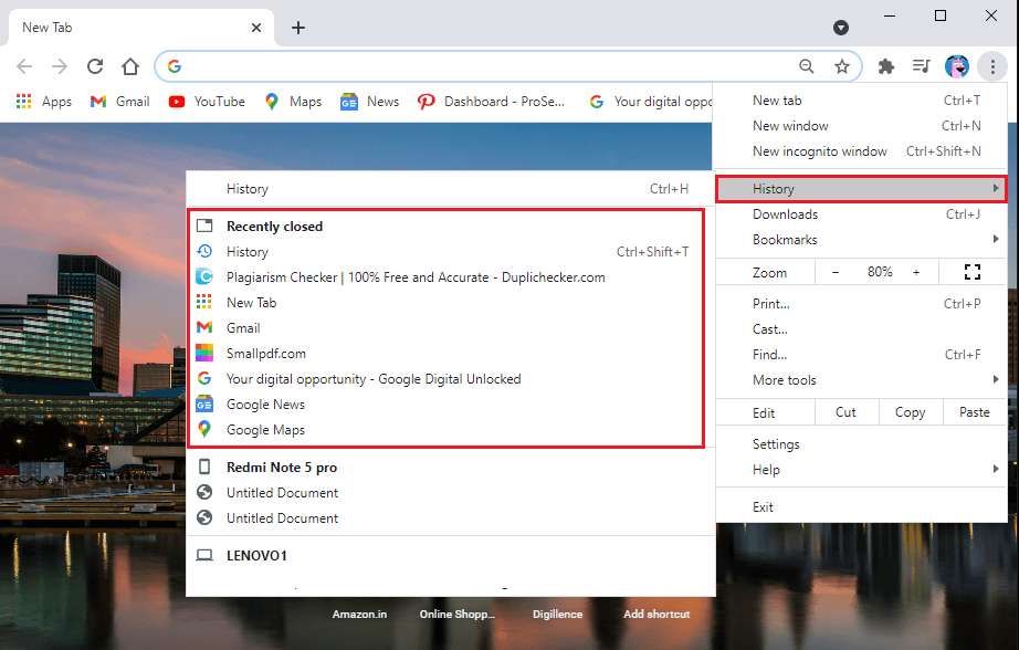 Click on history, and you will be able to see all the recently closed tabs