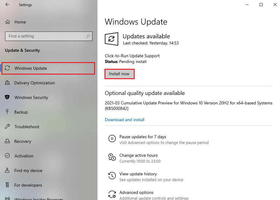Click on install now to download the available updates